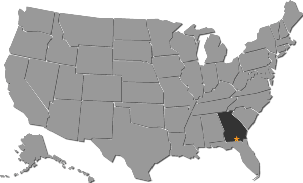 Map of the United States with Valdosta Georgia Starred